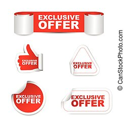 red set vector paper stickers exclusive offer