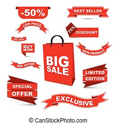 vector set red ribbons - big sale/ hot offer/ special offer/low price/ buy now/ best price/ best seller/ discount/ new product/ liited edition/ exclusive