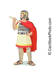 Roman Warrior With Red Cape - Illustration of roman warrior...