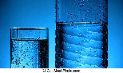 Water - Glass and plastic bottle with cold water