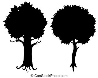tree silhouette vector - Set of tree silhouette vector...