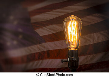 Edison Lightbulb American Flag - Decorative antique edison...