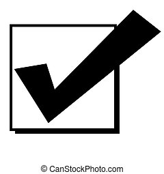 Check mark in box - Black silhouetted tick or check mark in...