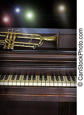 Old Trumpet Piano - Old and worn Jazz trumpet and piano...