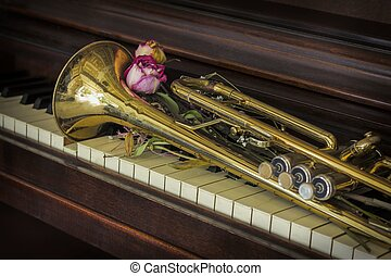 Flowers Trumpet Piano - Old and worn Jazz trumpet and piano...