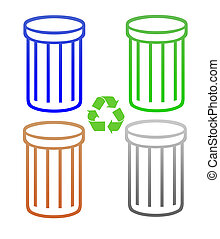 Set of recycling trash cans or rubbish bins - Set of...