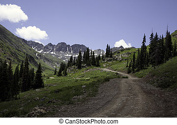 Mountain Road - A dirt road through the Sangre De Cristo...
