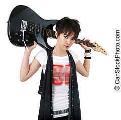 Rockstar - Asian rockstar with guitar isolated on white