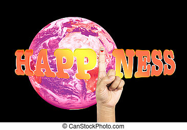 text happiness and pink earth with smiling finger - Cheerful...