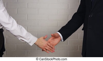 Clouse-up of businessman and businesswoman shaking hands in...