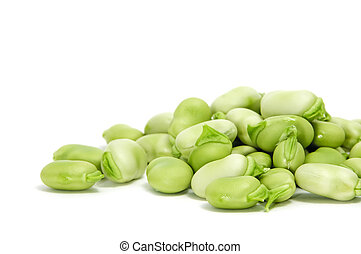 broad beans - closeup of some broad beans isolated on a...