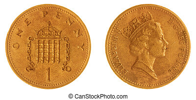 1 penny 1988 coin isolated on white background, Great...