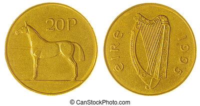20 pence 1995 coin isolated on white background, Ireland -...