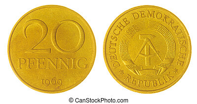 20 pfennig 1969 coin isolated on white background, Germany