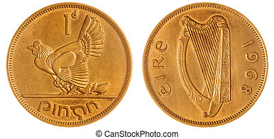 1 penny 1968 coin isolated on white background, Ireland -...