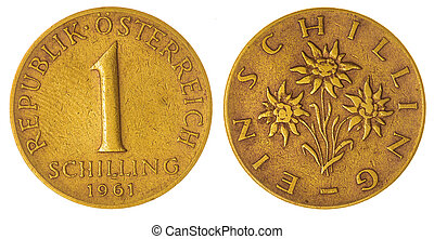 1 schilling 1961 coin isolated on white background, Austria...