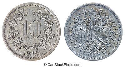10, heller, 1915, moneda, aislado, en, blanco, Plano de...