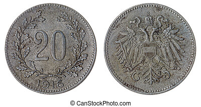 20 heller 1916 coin isolated on white background,...