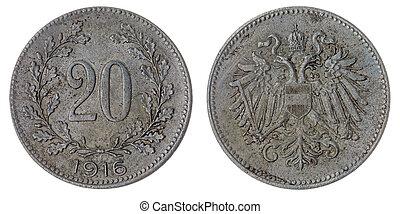 20, heller, 1916, moneda, aislado, en, blanco, Plano de...