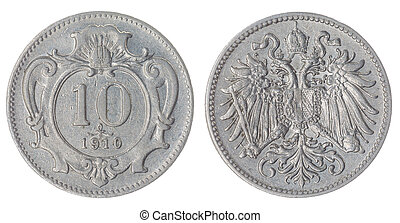 10 heller 1910 coin isolated on white background,...