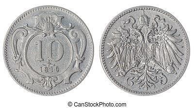 10, heller, 1910, moneda, aislado, en, blanco, Plano de...