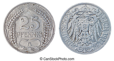 25 pfennig 1911 coin isolated on white background, Germany -...