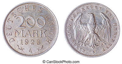 200 mark 1923 coin isolated on white background, Germany -...