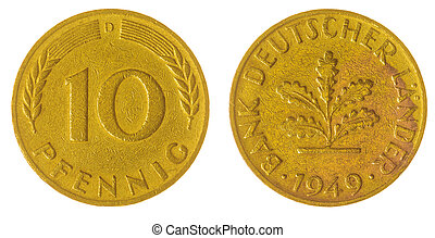 10 pfennig 1949 coin isolated on white background, Germany -...