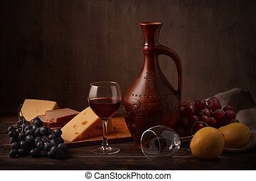 Wine, grape and cheese - Still life with wine, grape and...