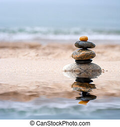 Smooth Stacked Stones - A pile of round smooth zen like...