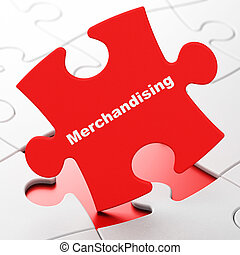 Advertising concept: Merchandising on puzzle background