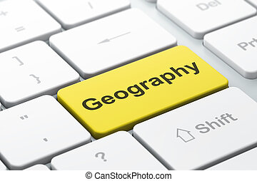 Studying concept: Geography on computer keyboard background