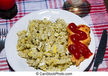 candlelight dinner pasta with herbs and chicken