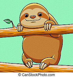 funny cartoon cute fat sloth illustration - funny cartoon...