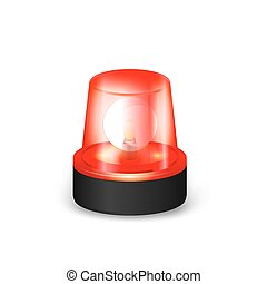 Red flashing siren - Red Emergency Flashing Siren on a White...