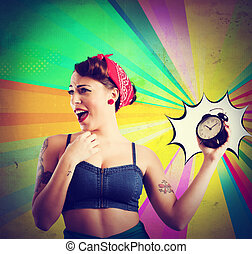 Vintage alarm clock - Pin-up girl annoyed by the alarm sound