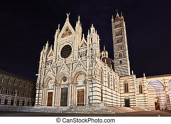 The Italian landmark Siena Cathedral at night