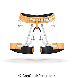 Climbing and mountainneering harness isolated on white...