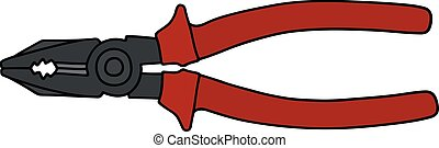 Red combination pliers - Hand drawing of a red combination...