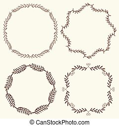Set of 4 hand drawn frames, vector - Set of hand drawn...