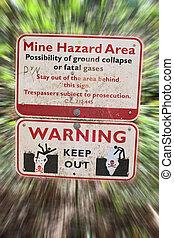 Mine Hazard Danger Sign - A sign warns about the mine hazard...
