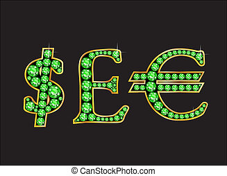 Currency Signs in Peridot Jeweled Font with Gold Channels -...