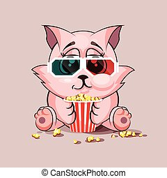 Cat watching a movie - Vector Stock Illustration Emoji...