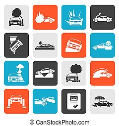 transportation insurance icons - Flat car and transportation...