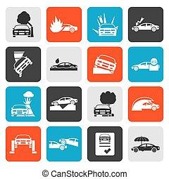 transportation insurance icons - Flat car and transportation...