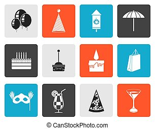 Flat Party and holidays icons