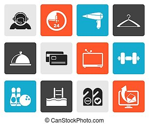 Flat hotel and motel amenity icons