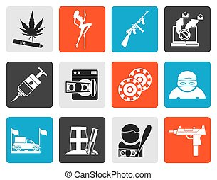 organized criminality icons - Flat mafia and organized...
