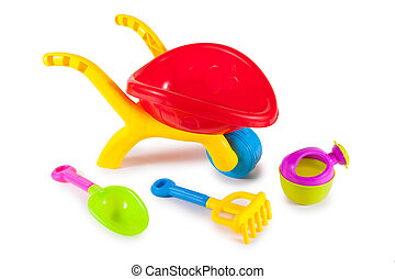 colorful toys for childrens sandboxes against the sea and...