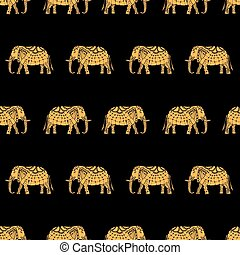 pattern with indian elephants - Vector pattern with indian...